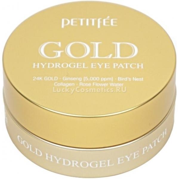 Petitfee Gold Hydrogel Eye PatchПлотный график работы, стрессы и усталость негативно сказываются на упругости и красоте кожи вокруг глаз. В результате она становится тонкой, слабой и с проявлением морщинок.<br>Уникальные гидрогелевые патчи от Petitfee пропитаны ценными питательными растительными экстрактами, которые глубоко питают уставшую кожу. Активные компоненты средства мгновенно проникают в глубокие слои дермы и восстанавливают ее на клеточном уровне. Гидрогелевая основа плотно прилегает к коже и обеспечивает максимальное проникновение растительных экстрактов.<br>Гидролизованный коллаген в составе средства заполняет морщинки и разглаживает их, кроме того он стимулирует выработку гиалуроновой кислоты и эластина.<br>Частицы золота устраняют отечность, темные круги вокруг глаз, снимают воспаление и дарят коже сияющий вид.<br>Экстракт корня женьшеня великолепно питает, увлажняет и тонизирует кожу. Препятствует появлению дряблости и обвисания кожи.<br>Экстракт грейпфрута повышает кожный иммунитет, деликатно осветляет тон кожи, снимает раздражение и локальные покраснения.Объём: 1,4 гр.*60Способ применения:На предварительно очищенную кожу наложите патчи и оставьте на 5 – 10 минут, после чего удалите, а остатки питательной эссенции мягко вбейте похлопывающими движениями.<br>