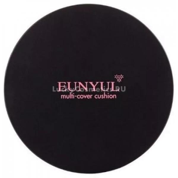 Eunyul Multi Cover CushionВсего один кушон с легкостью поможет решить несколько проблем. Средство от корейского бренда Eunyul равномерно покрывает кожу, не создает эффекта маски и прекрасно ухаживает в течение дня. Кроме того, активные компоненты Multi Cover Cushion помогают не только создать идеально ровный тон, но и позаботиться о защите с УФ барьером SPF50+, PA+++. Плотная текстура средства не проваливает в поры и морщинки, не скатывается и не истирается под воздействием пота и воды. Кушон великолепно питает, увлажняет и защищает нежную кожу от влияния факторов окружающей среды и стрессов. Специальный антиоксидантный комплекс прекрасно заполняет и выравнивает морщины, устраняет сухость и шелушения кожи, поддерживает физиологический уровень влажности и pH.<br>Средство выпускается в двух вариантах<br>21 Light Beige – легкий бежевый идеально подойдет для обладательниц светлого тона кожи;<br>23 Natural Beige – натуральный бежевый оттенок станет лучшим помощником для создания ровного тона и гладкой кожи.Объём: 13 гр.Способ применения:При помощи специального аппликатора нанесите средство на кожу лица и тщательно растушуйте.<br>