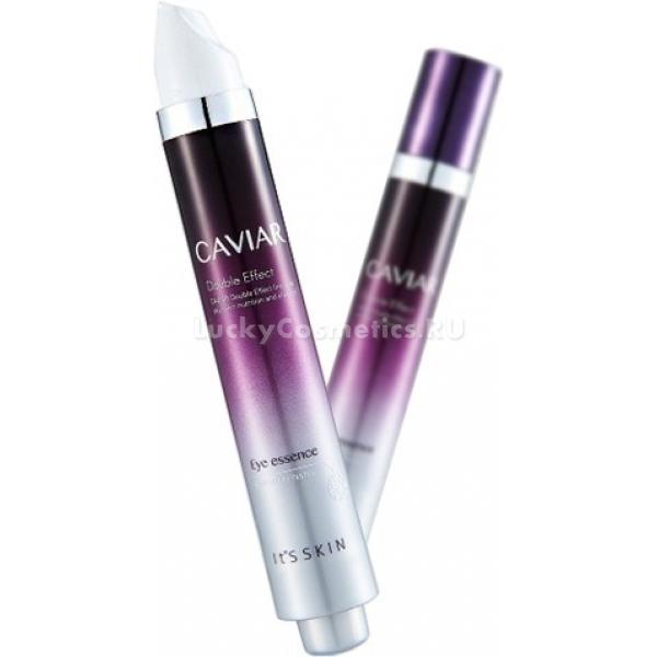 Its Skin Caviar Double Effect Eye EssenceКожа вокруг глаз более нежная и чувствительная, и поэтому нуждается в деликатной и тщательной заботе. Учитывая потребности такой кожи, специалисты компании Its Skin создали линейку ухаживающих средств на основе черной икры Caviar Double Effect. Глубоко проникая в клетки, средство способствует полной регенерации тканей, стимулирует выработку коллагена и дарит коже упругость. Способствует разглаживанию мелких мимических морщин, уменьшает выраженность и глубину возрастных морщинок, укрепляет тонкую кожу и дарит ей гладкость. В результате регулярного применения исчезает отечность, темные круги и следы усталости, кожа становится эластичной, тонизированной и увлажненной.<br>Экстракт черной икры обладает мощным anti – age эффектом, благодаря которому замедляются процессы старения клеток, визуально подтягиваются контуры уголков глаз, исчезают мелкие морщинки и несовершенства. Кроме того, икра способствует улучшению микроциркуляции крови в клетках, насыщает ткани кислородом и предотвращает шелушение.<br>Ниацинамид деликатно выравнивает тон и осветляет пигментацию, уменьшает выраженность видимой сосудистой сеточки и дарит коже свежий и сияющий вид.<br>Аденозин способствует наполнению кожи жизненной энергией, усиливает защитные функции и укрепляет тонкую кожу. Защищает от негативного воздействия ультрафиолета, стрессов и температурных колебаний.Объём: 15 мл.Способ применения:В завершающем этапе ухода нанесите средство на кожу в области глаз. Рекомендовано использовать в качестве ночного регенерирующего средства.<br>