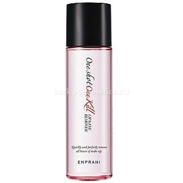 Enprani One Shot One Kill LipampEye RemoverЖидкость для демакияжа от корейского бренда Enprani создана для ухода за нежной, чувствительной кожей губ и глаз. Двухфазное средство в одно мгновение очищает кожу от суперстойкой косметики. В составе продукта содержится экстракт дамасской розы, который увлажняет кожу и препятствует образованию гусиных лапок и мимических морщин. Также средство заметно уменьшает покраснения и воспаления.<br><br>Гипоаллергенная формула средства позволяет использовать его для кожи, склонной к раздражениям. Деликатное очищение обеспечивает сочетание масляной и водяной баз. Приятная текстура продукта нежно действует на кожу, не оставляя разводов и ощущения липкости.<br><br>Средство помещено в удобный флакон, что позволяет пользоваться им комфортно и экономично.<br><br>&amp;nbsp;<br><br>Объём: 100 мл<br><br>&amp;nbsp;<br><br>Способ применения:<br><br>Перед использованием флакон с жидкостью следует тщательно взболтать, чтобы смешать две фазы. Средство с помощью ватного диска нанести на кожу губ и век. После того как макияж растворится, следует аккуратно удалить его остатки, смыв теплой водой.<br>