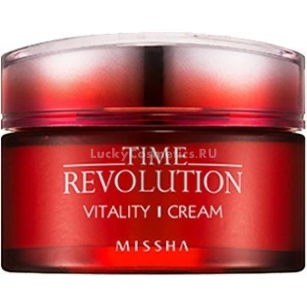 Missha Time Revolution Vitality CreamКрем для омоложения кожи, стимулирующий процессы синтеза в клетках и продлевающий их жизненный цикл на основе красных компонентов &amp;ndash; лепестков гибискуса, ягод клюквы и граната с высокой антиоксидантной активностью.<br><br>Содержит запатентованные комплексы, разработанные специально для ухода за кожей с признаками увядания:<br><br>Trilagen TM &amp;ndash; содержит пептиды и протеины для восстановления барьерных свойств липидного слоя кожи, а также дрожжевой экстракт, стимулирующий ее регенерацию.<br><br>DN-AidTM &amp;ndash; изготавливается на основе кассии, воздействует на ДНК клеток, предотвращая их деформацию ультрафиолетом, восстанавливает энергетику клеток.<br><br>&amp;nbsp;<br><br>Объём: 50 мл<br><br>&amp;nbsp;<br><br>Способ применения:<br><br>Крем наносят на кожу по направлению массажных линий после применения тонера, эмульсии, сыворотки как завершающий этап ухода. Можно применять дважды в сутки, утром перед нанесением макияжа и вечером для ночного ухода как слипин-пак. Нежную кожу вокруг глаз обрабатывать мягкими круговыми движениями, используя безымянные пальцы или мизинцы для более деликатного воздействия.<br>