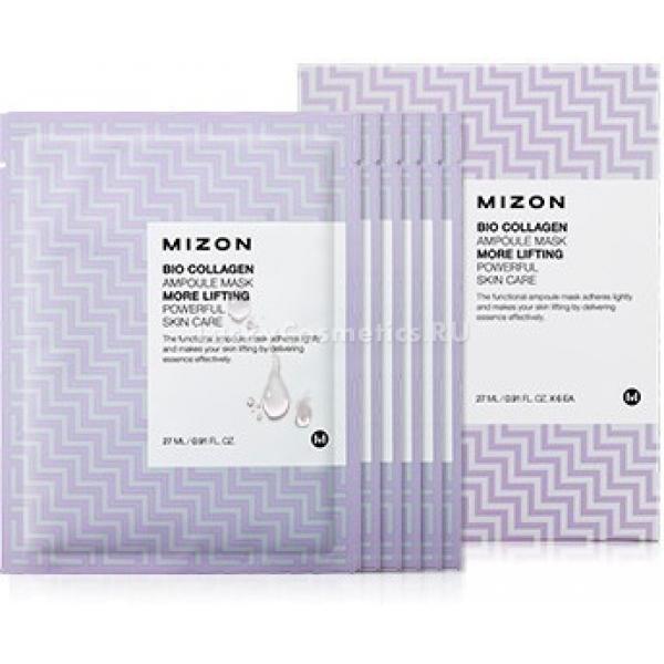 Mizon Bio Collagen Ampoule MaskBio Collagen Ampoule Mask &amp;ndash; насыщенная активными веществами ампульная сыворотка, пропитывающая салфетку из коксовой био целлюлозы.<br><br>Эссенция на 50% состоит из коллагена, который подтягивает, увлажняет и защищает кожу от вредных окружающих факторов. Он дополнен комплексом натуральных экстрактов семян чиа, рисовых отрубей и золотистой фасоли маш.<br><br>Действие экстракта семян чиа на кожу:<br><br><br>увлажнение;<br>предотвращение размножения вредных бактерий;<br>улучшение цвета лица;<br>прекращение окислительных процессов;<br>смягчение.<br><br><br>Вытяжка из рисовых отрубей устраняет сухость и раздражения эпидермиса. Высокие антиоксидантные свойства этого ингредиента позволяют замедлить увядание кожи. Экстракт рисовых отрубей надежно защищает ткани от негативного воздействия ультрафиолета и помогает при ожогах.<br><br>Фасоль маш освежает и тонизирует кожу, дарит ей упругость, подтянутость и сужает поры.<br><br>&amp;nbsp;<br><br>Объём: 30 гр<br><br>&amp;nbsp;<br><br>Способ применения:<br><br>На подготовленное лицо аккуратно положить тканевую маску, очищенную от защитных пленок. Подождать 20 минут, убрать маску и слегка втереть остатки сыворотки в кожу.<br>