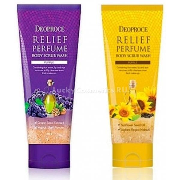 Deoproce Relief Perfume Body Scrubwash PurpleСкраб для тела Relief Perfume обладает чарующим ароматом и волшебным воздействием на кожу. Кроме тщательного очищения ее поверхности, средство улучшает циркуляцию крови и стимулирует обменные процессы в тканях. Большую пользу коже также приносят натуральные ингредиенты скраба: измельченная скорлупа грецких орехов и масло из косточек винограда.<br>Скрабирующие компоненты Body Scrubwash Purple изготовлены из скорлупы грецкого ореха. Особенность этого компонента заключается в его влиянии на кожу. Скорлупа грецкого ореха обладает регенерирующим и противовоспалительным действием, ускоряет заживление микроповреждений.<br>Масло из косточек винограда косметологи прозвали гормоном молодости. Такое громкое имя вещество получило за свой уникальный состав и эффективное омолаживающее действие. Оно содержит полифенолы - мощные антиоксиданты и сильные борцы с проблемами увядания кожи. Масло также богато комплексом полиненасыщенных жирных кислот и витаминов, содержит хлорофилл. Это обеспечивает компоненту практически лечебное действие: иммуномодулирующее, противовоспалительное, очищающее, противоопухолевое, заживляющее, бактерицидное и тонизирующее.Объём: 200 грСпособ применения:Распределить по влажной коже поглаживающими движениями, помассировать и смыть.<br>
