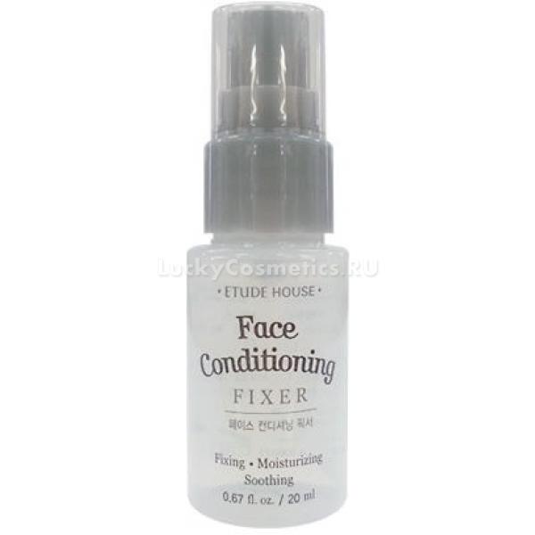 Etude House Face Conditioning FixerС новомодным корейским фиксатором больше не стоит бояться, что ваш макияж &amp;laquo;уплывет&amp;raquo; еще до конца дня или же испортится из-за экстремальных погодных условий. Помощник в создании безупречного мэйк-апа займет достойное место в вашем арсенале красоты.<br><br>Это средство подойдет для тех девушек, которые после нанесения косметики сталкиваются с такими неприятностями, как осыпавшиеся тени, потемневшая тональная основа, блеклые, потерявшие выразительность румяна. В течение дня не всегда есть возможность поправить макияж. Чтобы сохранить красоту, наведенную утром, выглядеть ухоженно, косметологи и визажисты рекомендуют использовать средство-фиксатор для макияжа.<br><br>Состав фиксатора содержит экстракт алое вера. Антисептический компонент обладает увлажняющим действием, а также ускоряет заживление повреждений, избавляет от раздражений, оберегает кожу от недружелюбной внешней среды.<br><br>Продукт очень удобен в использовании. Его необходимо всего лишь распылить поверх свежего макияжа. Использовать экспресс-фиксатор могут обладатели любого типа кожи. По заявлению производителя средство закрепляет макияж на 12 часов.<br><br>&amp;nbsp;<br><br>Объём: 20 мл<br><br>&amp;nbsp;<br><br>Способ применения:<br><br>1. Встряхните флакончик и равномерно распылите фиксатор на кожу лица и шеи поверх свежего макияжа.<br><br>2. Можно наносить средство как базу под макияж на чистое лицо.<br>