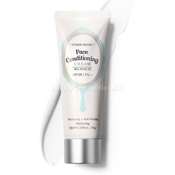 Etude House Face Conditioning CreamГрамотно подобранная основа &amp;ndash; это секрет идеального макияжа. Особенно сложно приходится обладательницам жирной кожи. Чтобы лицо не лоснилось и оставалось весь день свежим, следует использовать базу, соответствующую типу кожи.<br><br>Основа для жирной кожи может похвастаться высокой функциональностью. Бьюти-средство сочетает в себе достоинства крема и базы под макияж. Плотная кремовая текстура продукта визуально сглаживает рельеф кожи, на ощупь делая ее гладенькой и бархатистой. Основа сужает поры, не подчеркивает шелушения.<br><br>Экстракты фруктов, входящие в состав основы, деликатно ухаживают за склонной к жирности кожей. Они повышают барьерные функции дермы. Фактор УФ-защиты оберегает кожу от фотостарения и обезвоживания. Также формула основы содержит аденозин, растительный арбутин и кокосовое масло. Эти компоненты эффективно питают, отбеливают кожу, нормализуют баланс влаги, борются с морщинами.<br><br>Выравнивающая основа под макияж придаст вашей коже легкое сияние и безупречную гладкость.<br><br>&amp;nbsp;<br><br>Объём: 75 г<br><br>&amp;nbsp;<br><br>Способ применения:<br><br>Нанесите основу на тонированную кожу лица. После того как средство бесследно сольется с кожей, приступайте к макияжу.<br>