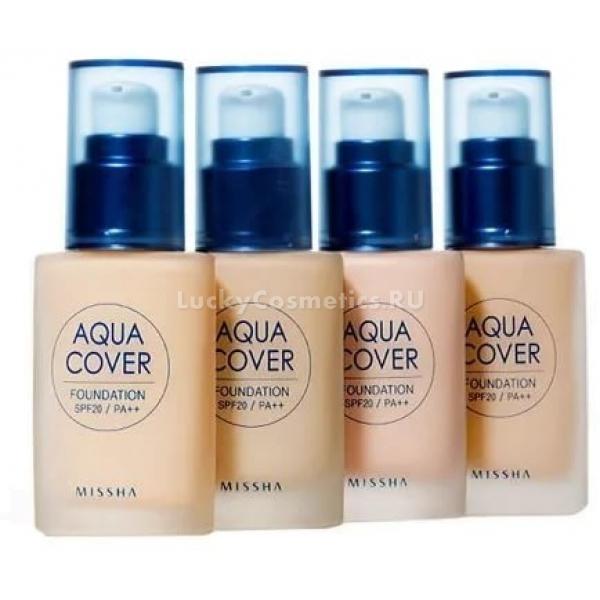 Missha Aqua Cover Foundation SPFPAТональный крем можно назвать фундаментом макияжа, ведь ровная, сияющая, гладкая кожа уже сама по себе красива. Бренд Missha выпустил отличный продукт для маскировки недостатков и улучшения цвета лица &amp;ndash; тональный флюид Aqua Cover Foundation SPF20/PA++.<br><br>Его особенность состоит в водной основе, благодаря которой не забиваются поры и не провоцируются высыпания. В составе крема присутствуют такие компоненты натурального происхождения, как березовый сок, экстракты лайма, ириса, полезные масла и витамин В3, улучшающие структуру кожи, оказывающие антибактериальное, противовоспалительное, смягчающее и даже подтягивающее действие. Словом, тональное средство содержит в себе еще и ухаживающие составляющие, которые активно работают, когда вы наносите макияж.<br><br>Aqua Cover Foundation идеально подойдет любому типу кожи, как сухой обезвоженной, так и жирной проблемной. Несмотря на легкое покрытие, продукт отлично маскирует несовершенства, не подчеркивает шелушения, выравнивает общий тон лица и делает его свежим.<br><br>Приятная легкая текстура быстро распределяется и подстраивается под нужный оттенок, не ложится маской, дает коже дышать.<br><br>Оптимальный солнцезащитный фильтр SPF20 PA++ бережно защищает личико от негативного воздействия ультрафиолетовых лучей, провоцирующих процесс фотостарения и пигментации.<br><br>&amp;nbsp;<br><br>Объём: 30 мл.<br><br>&amp;nbsp;<br><br>Способ применения:<br><br>Равномерно распределить небольшое количество продукта по очищенной коже. Для нанесения можно использовать кисть, спонж, бьютиблендер<br>