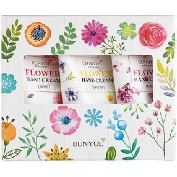 Eunyul Hand Cream  SetМногие девушки будут на седьмом небе от счастья, получив в подарок от дорогого человека благоухающий букет. Однако не все представительницы прекрасного пола являются поклонницами цветочных композиций. Как же удивить любимую в таком случае? Отличным презентом к празднику станет подарочный набор кремов для рук Eunyul Hand Set в яркой упаковке с цветочным принтом. Ромашковый крем отличается питающими и регенерирующим свойствами. Он замечательно подходит на холодный период времени, быстро устраняя такие распространенные проблемы, как сухость, шелушения и трещинки. При регулярном использовании, продукт способен сделать пигментацию менее заметной, а также предотвратить преждевременное старение кожи. Крем с экстрактом сирени изнутри наполняет кожу влагой, делая ее мягкой, гладкой и бархатистой. Такая защита особенно необходима летом, когда на нас регулярно воздействуют палящие солнечные лучи. Средство быстро и эффективно успокаивает раздраженную кожу, снимает покраснения и дарит приятные ощущения во время использования. Крем для рук с вытяжкой из лепестков розы имеет богатый состав, насыщенный полезными микроэлементами. Его основное действие направлено на уход за зрелой кожей, испытывающей недостаточную эластичность. Продукт способен обновить клеточную структуру и ускорить процесс выработки коллагена в тканях.Объём: 3 шт. по 50 мл.Способ применения:Нанести порцию крем на чистую кожу рук, аккуратно распределить массажными движениями. Для достижения видимого стойкого эффекта рекомендуется использовать регулярно в течение 2-3 недель.<br>