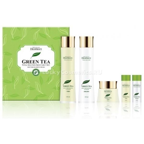 Deoproce Premium Greentea Total Solution  SetУходовый набор на основе экстракта зеленого чая Premium 3 Set от Deoproce – детокс-уход, подходящий для чувствительной кожи. Сет состоит из тонера, эмульсии и крема – основных увлажняющих средств согласно пятишаговой схеме ухода за кожей по азиатской системе.<br>Тонер с зеленым чаем используют сразу после умывания, эмульсия применяется для дополнительного увлажнения сухой кожи на протяжении дня, а крем используется как средство специального ухода ночью.<br>Две миниатюры тонера и эмульсии Greentea Total Solution легко помещаются в миниатюрной сумочке и позволяют обеспечить полноценное увлажнение и тонизирование кожи в любых условиях, что актуально во время путешествий.<br>Зеленый чай – основной действующий компонент, который стимулирует микроциркуляцию клеток, тонизирует кожу и способствует выведению токсинов из дермы.Объём: 150 мл., 150 мл., 50 мл., 2х30 мл.Способ применения:Тонер наносят на кожу тонким слоем сразу после умывания, пока на ней есть капельки влаги – средство помогает удержать воду в эпидермисе. Эмульсию наносят сразу, как только впитается тонер – обладательницы нормальной кожи, которая не нуждается в дополнительном увлажнении, могут пропустить этот этап. Ее также можно использовать как основу для макияжа или праймер.<br>