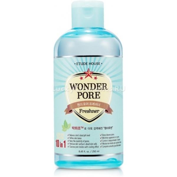 Etude House Wonder Pore Freshner  inУниверсальный продукт от корейского косметического бренда Etude House заменит собой сразу 10 продуктов по уходу за кожей. Он обладает множеством полезных свойств, которые по достоинству оценят обладательницы проблемной кожи, получив полноценный уход, используя всего лишь один продукт.<br>Wonder Pore Freshner 10 in 1 эффективно очищает закупоренные поры, растворяет сальные пробки, нормализует уровень pH и баланс жирности кожи, сужает поры, выравнивает микрорельеф кожи, ее оттенок, придает упругость и эластичность.<br>Тоник прекрасно освежает и оставляет приятные ощущения после нанесения. Он прекрасно подготавливает кожу к последующему нанесению крема. Продукт абсолютно не вызывает аллергии и раздражений, потому подойдет даже для обладательниц чувствительной кожи.Объём: 500, 250, 25 млСпособ применения:Наносить при помощи ватного диска на предварительно очищенную кожу лица.<br>