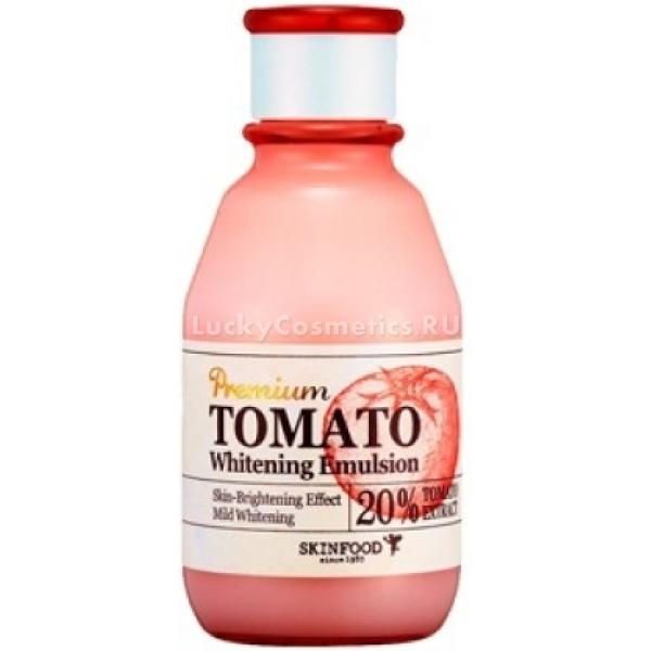 Skinfood Premium Tomato Whitening EmulsionИнновационная линейка средств по уходу за увядающей и тусклой кожей лица создана корейскими специалистами компании Skinfood. Состав продукта учитывает особенности возрастной кожи и восполняет все недостающие витамины и минералы для ее скорейшего восстановления. Экстракт томата в Premium Tomato Whitening Emulsion насыщает клетки и стимулирует их обновление.<br>Эмульсия работает в то время, когда Вы отдыхаете. Клетки активно восстанавливаются и делятся именно в ночное время суток. Средство отлично питает и увлажняет кожу в глубоких ее слоях. В течение дня Ваша кожа будет выглядеть без следов усталости и отечности. Не вызывает сухости и шелушения. Подходит для ухода за любым типом кожи. Сужает расширенные поры и деликатно отбеливает.<br>Экстракт томата обладает противомикробным и омолаживающим действием, препятствует образованию свободных радикалов, защищает кожу от ультрафиолета и резких температурных перепадов. Возвращает эластичность, упругость и сияние. Укрепляет тонкую кожу и уменьшает выраженность сосудистой сеточки.Объём: 140 мл.Способ применения:Предварительно подготовьте кожу с помощью очищающего тонера и нанесите точечно эмульсию на желаемые зоны действия и дайте впитаться.<br>