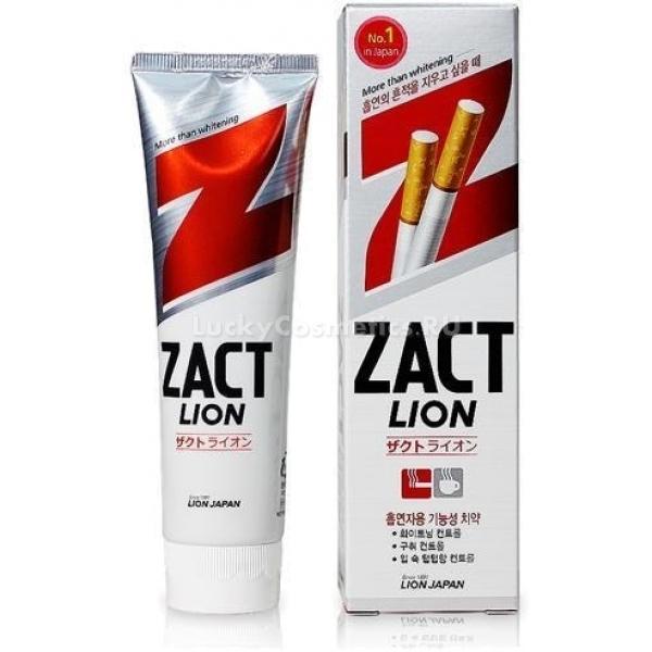 Cj Lion Zact LionСпециальная формула зубной пасты Zact Lion от японского бренда Cj Lion, помогает устранить неприятный запах, желтизну и налет с поверхности зубов. Предотвращает образование зубного камня, устраняет болезнетворные бактерии и дарит чувство свежести до 12 часов. Средство, специально созданное для курящих людей, помогает бороться с пагубной привычкой и уменьшает тягу к сигаретам. Кроме того, специальные компоненты в составе продукта обладают терапевтическим действием, заполняют поврежденную эмаль, предотвращают появление кариеса и пародонтоза. Способствует укреплению десен, препятствуя их кровоточивости. Мягкая формула средства, не раздражает и не оставляет химического послевкусия. При регулярном использовании способствует деликатному отбеливанию зубов на несколько тонов, при этом не нарушая зубную эмаль.<br><br>Витамин Е в составе средства укрепляет десна, препятствует размножению бактерий и способствует заживлению ранок.<br><br>&amp;nbsp;<br><br>Объём: 150 гр.<br><br>&amp;nbsp;<br><br>Способ применения:<br><br>Выдавите не больше горошины средства на щетку и легкими круговыми движениями очистите полость рта.<br>