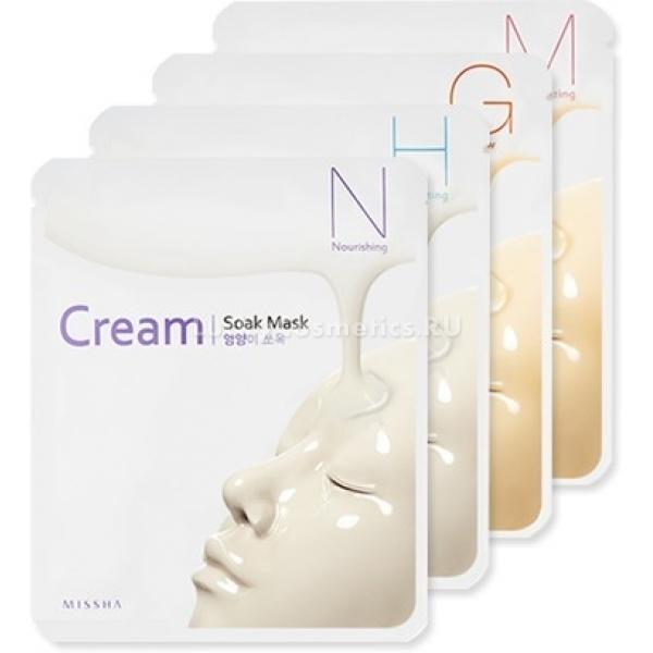 Missha CreamSoak MaskПожалуй, самое популярное средство для подтяжки овала лица И ядерного увлажнения в домашних условиях – гиалуроновая кислота. Многие дамы мечтают попробовать ее и на себе оценить чудодейственный эффект, но боятся навредить, неверно рассчитав пропорции. Зачем отказывать себе в полезной процедуре, если есть отличный аналог – тканевые маски с «гиалуронкой» Cream-Soak Mask.<br>Основа продукта изготовлена из микроволокна, настолько мягкого и приятного к коже, что наносить маску – одно удовольствие! А еще за счет качественного материала ускоряется процесс проникновения полезных веществ в глубокие слои эпидермиса. Пока средство работает - кожа дышит, а не находится в «парнике», что тоже немаловажно.<br>В линейку масок с мягкой кремовой пропиткой входят увлажняющая Hydrating и питательная Nourishing. Первый вариант универсален и подойдет любому типу кожи, включая проблемную и чувствительную, а вот второй необходимо использовать обладательницам зрелой кожи и тем, кто нуждается в глубоком восстановлении.<br>Благодаря натуральным маслам шиповника и арганы, тканевая маска оказывает не только моментальный визуальный эффект, но имеет и накопительное действие. Достаточно всего одного регулярного сеанса в неделю, чтобы уже через месяц увидеть разительные положительные перемены.Объём: 25 мл.Способ применения:На очищенную кожу нанесите тканевое лекало, разгладьте поверхность. Расслабьте мышцы лица, лучше принять горизонтальное положение. Спустя полчаса удалите маску и промокните лицо бумажной салфеткой.<br>