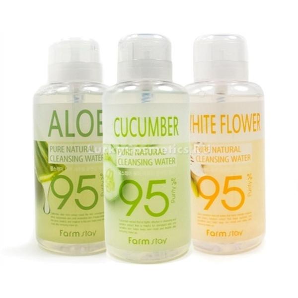 FarmStay Pure Cleansing WaterУдаляйте макияж любой сложности всего одним прикосновением. Очищающая вода Pure Cleansing Water от корейского бренда FarmStay мгновенно растворяет макияж, пыль и сальные пробки, успокаивает раздраженную кожу и помогает подготовить ее к последующему нанесению ухаживающих средств.<br>- Aloe – вода с высоким содержанием экстракта калифорнийского алоэ дарит коже непревзойденную мягкость и гладкость, сужает расширенные поры и эффективно борется с различными высыпаниями.<br>- Cucumber – натуральный экстракт огурца наполняет обезвоженную кожу влагой, устраняет шелушения и дарит ей невероятную мягкость. Кроме того, огурец обладает антибактериальными и тонизирующими свойствами, разглаживает морщины и усиливает клеточное дыхание.<br>- White Flower – вытяжки белых цветов деликатно устраняют сухость, снимают чувство стянутости и усиливают кожный иммунитет. Способствуют отбеливанию пигментации, и выравнивают тон и рельефность кожного покрова.Объём: 500 мл.Способ применения:Встряхните флакон, надавите на помповый дозатор и смочите необходимым количеством средства ватный диск или пуф, приложите его к коже на несколько секунд, после чего легким движением удалите остатки макияжа и загрязнений.<br>