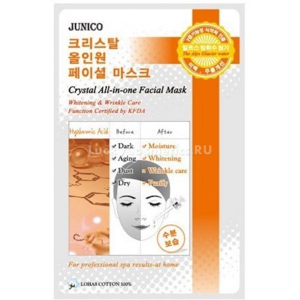 Mijin Cosmetics Junico Crystal Allinone Facial Mask Hyaluronic AcidГиалуроновая кислота &amp;ndash; один из главных компонентов матрикса дермы, и если коллаген и эластин обеспечивают молодость, тонус, устойчивость к растяжению и механическим повреждениям кожи, то гиалуроновая кислота способна усилить процессы синтеза этих белков. Помимо регулирующей функции, гиалуроновая кислота также отлично увлажняет кожу, задерживая влагу во внеклеточном матриксе.<br><br>Маска Facial Mask Hyaluronic Acid от Mijin Cosmetics снабжает кожу гиалуроновой кислотой, возвращает ей молодость и здоровье, выравнивает ее тон. Мгновенный результат &amp;ndash; идеально увлажненная и гладкая кожа, пролонгированный эффект &amp;ndash; нормализация синтеза коллагена и эластина, детоксикация глубоких слоев кожи, повышение локального иммунитета.<br><br>&amp;nbsp;<br><br>Объём: 24 мл<br><br>&amp;nbsp;<br><br>Способ применения:<br><br>Расправить основу, приложить ее к лицу и поглаживающими движениями по направлению массажных линий плотнее прижать ткань коже. Спустя пятнадцать минут снять материю, а кремообразную пропитку маски оставить для дополнительного воздействия до полного впитывания.<br>