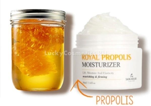 Крем с прополисом The Skin House Cream Royal Propolis MoisturizerПрополис &amp;ndash; волшебный продукт пчеловодства. Обладающий выраженным ранозаживляющим и антибактериальным действием, он в составе корейского крема превосходно ухаживает за любым типом кожи, в том числе за капризным.<br><br>Целебное вещество, вырабатываемое пчелами, ускоряет восстановление тканей, сокращает количество кожных высыпаний, выравнивает оттенок кожи, возвращает ей здоровый естественный цвет. Также азиатский крем содержит в своем составе экстракты цветков календулы, папайи, тыквы, семян амаранта, масло камелии.<br><br>Растительные вытяжки оказывают успокаивающее, омолаживающее и противовоспалительное действие. Они тонизируют кожу и повышают ее защитные функции. При регулярном использовании крема вы избавитесь от пигментных пятен и черных точек на лице.<br><br>Крем отлично впитывается в кожу, поэтому может быть использован как в вечернее, так и в дневное время. После себя он не оставляет жирной пленки или липкости. Приятным бонусом к высокой эффективности средства является его нежный аромат.<br><br>&amp;nbsp;<br><br>Объём: 50 мл<br><br>&amp;nbsp;<br><br>Способ применения:<br><br>Необходимое количество крема нанесите на чистую кожу лица.<br>