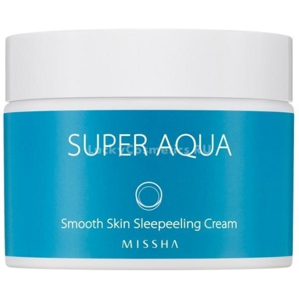 Missha Super Aqua Smooth Skin Peeling CreamПока вы спите, ваша кожа отдыхает, каждая ее клеточка наполняется энергией и, кроме этого, происходит процесс омоложения. Нет, это не фантастика. Это Smooth Skin Peeling Cream из серии Super Aqua от Missha. Разглаживающий крем делает свою работу даже ночью, и это anti-age уход за кожей в режиме нон-стоп.<br><br>Основная изюминка этого средства &amp;ndash; наличие в его составе активных органических кислот. Это AHA-, BHA- и PHA-комплекс, главная задача которого &amp;ndash; действенный и при этом бережный и деликатный уход.<br><br>Так, кислоты AHA &amp;ndash; компонент отшелушивающий и вместе с тем омолаживающий. Они ослабляют связи ороговевших эпидермальных чешуек с кожей, и они скорее отходят. В результате рельеф кожи становится гладким, цвет выравнивается. Кроме того, комплекс AHA стимулирует синтез коллагена.<br><br>BHA-кислоты выступают в роли антисептического компонента формулы. Они борются с бактериями, и воспаления заживают скорее.<br><br>PHA-комплекс обладает свойствами антиоксиданта. Он защищает от действия вредных факторов среды. Также кислоты PHA смягчают и увлажняют, ускоряют регенерацию тканей.<br><br>Разглаживающий крем подарит коже нежность, красоту и молодость.<br><br>&amp;nbsp;<br><br>Объём: 50 мл<br><br>&amp;nbsp;<br><br>Способ применения:<br><br>Нанесите после умывания разглаживающий крем на ночь. Смывать средство не нужно.<br>