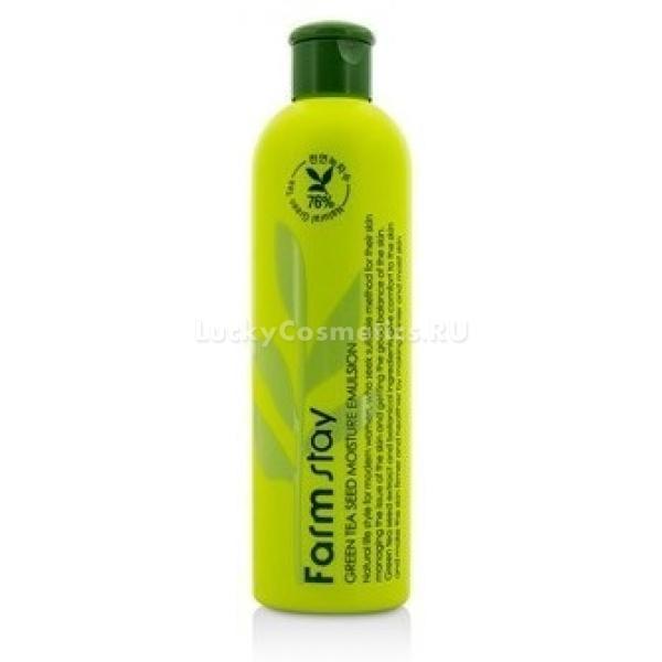 FarmStay Green Tea Seed Moisture EmulsionПоддерживать нормальное увлажнение кожи - верный шаг к продлению ее молодости и потрясающей природной красоты. Помочь в этом нелегком деле призвана увлажняющая эмульсия от FarmStay. Она создана на основе натуральных суперувлажняющих компонентов - экстракте зеленого чая, алоэ и гиалуроновой кислоты. Экстракт зеленого чая витаминизирует кожу, превосходно тонизирует и сводит к минимуму воздействие UV- излучения. Он оказывает противовозрастной эффект, замедляя старение клеток, освежает кожу и осветляет тон. Гиалуроновая кислота восполняет естественные запасы влаги, в которой так нуждается наша кожа. С возрастом процессы увлажнения становятся более медленными, поэтому гиалуроновая кислота нормализует их, препятствует пересыханию кожи. Экстракт алоэ оздоравливает кожу, борется с очагами воспалений, лечит мелкие ранки. Эмульсия при регулярном использовании преображает кожу, помогает продлить ее молодость за счет высокого увлажнения и полноценного питания. Кожа приобретает удивительную гладкость, выглядит ухоженной, ровной и по-настоящему красивой.<br><br>&amp;nbsp;<br><br>Объём: 300 мл<br><br>&amp;nbsp;<br><br>Способ применения:<br><br>На предварительно тонизированную кожу лица равномерно нанести эмульсию.<br>