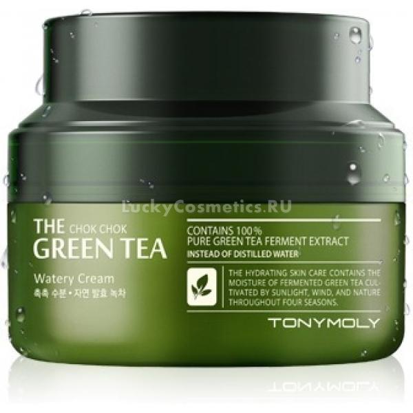 Увлажняющий крем Tony Moly The Chok Chok Green Tea Watery CreamКрем для лица The Chok Chok Green Tea Watery Cream на основе зеленого чая предназначен для увлажнения кожи и придания ей здорового и ухоженного вида. Продукт больше чем на половину состоит из экстракта зеленого чая. Также в состав входят масла &amp;ndash; розового дерева и семян лимона.<br><br>Главный компонент продукта - зеленый чай &amp;ndash; не только тонизирующее и увлажняющее средство, также он отлично справляется с проблемой шелушения и воспалений на коже, служит антиоксидантом, очищает поры, снимает отеки и следы усталости.<br><br>Многофункциональное действие крема достигнуто благодаря использованию при его производстве процесса брожения, так как у средств, изготовленных таким образом, повышается способность проникновения в нижние слои эпидермиса и тем самым оказывать наилучший эффект на кожу.<br><br>Увлажняющий крем The Chok Chok Green Tea Watery Cream подходит для всех типов кожи. Регулярное его использование позволяет добиться эффекта свежести, мягкости и увлажнения.<br><br>&amp;nbsp;<br><br>Объём: 60 мл<br><br>&amp;nbsp;<br><br>Способ применения:<br><br>Очистить лицо от косметических средств и загрязнений, нанести необходимое количество крема на лицо массирующими движениями.<br>