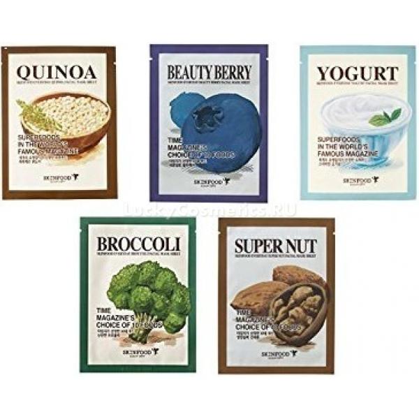 Skinfood Everyday Yogurt Mask SheetМаска для лица Everyday Yogurt Mask представляет собой тканную основу из гипоаллергенного материала с анатомическими прорезями для глаз, ноздрей и губ, густо пропитанную йогуртовой маской.<br>Экстракт йогурта содержит массу полезных для кожи компонентов:<br>аминокислоты;<br>пробиотики;<br>молочная кислота;<br>лактобактерии;<br>витамины группы B;<br>ретинол и другие.<br>Эти вещества действуют на эпидермис и дерму по нескольким направлениям и по своей эффективности намного превосходят гидролизованные молочные протеины.<br>Концентрат активных составляющих йогурта обеспечивает следующее влияние на кожу лица:<br>стимулирует образование фибриллярных белков, которые отвечают за упругость и эластичность кожных покровов;<br>обеспечивает эффект деликатного отшелушивания омертвевшего эпителия;<br>оказывает иммуномодулирующее действие;<br>борется с повышенным содержанием меланина, проводящего к гиперпигментаци;<br>освежает цвет лица;<br>увлажняет;<br>питает;<br>оберегает кожу от фотостарения;<br>оказывает кондициоирующий эффект;<br>устраняет мелкие неровности кожи;<br>уменьшает глубину выраженных морщин;<br>усиливает регенерацию клеток.<br>Выраженный омолаживающий и оздоравливающий эффект маски становится заметен уже с первых дней применения, но степень его выраженности зависит от индивидуальных особенностей кожи и генетической предрасположенности.Объём: 23 грСпособ применения:Перед использованием провести процедуру глубокой очистки кожи. Распечатать саше и распределить маску по лицу, тщательно выравнивая складки. Через 15 минут снять и помочь впитаться остаткам средства.<br>