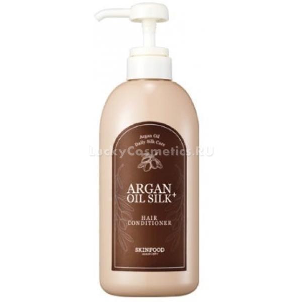 SkinFood Argan Oil Silk Plus Hair ConditionerArgan Oil Hair Line создана для интенсивного восстановления волос после завивок, осветлений и других химических воздействий.  Когда волосы теряют жизненную силу, перестают блестеть, ломаются и выпадают, отличным решением будет выбрать питательные продукты для волос. Известными питательными свойствами обладает марокканское аргановое масло, оно практически на 90 % состоит из знаменитых ненасыщенных жирных кислот. Велика его значимость и на Востоке. Корейские трихологи рекомендуют использовать арганосодержащие косметические продукты в качестве восстановительной терапии для волос. Оно хорошо питает волосяной фолликул и сам стержень волоса, а также пробуждает «спящие» луковицы. Обладает защитными функциями, снижает чувствительность волос к перепадам температур.<br>Кондиционер для волос с аргановым маслом Argan Oil Silk Plus Hair Conditioner станет палочкой-выручалочкой даже для самых ослабленных волос. Дополнительные кератин, шелк и экстракты лечебных растений станут хорошим тандемом. Ваши волосы перестанут сечься на кончиках, станут более густыми и блестящими. Важно, что состав не имеет синтетических ингредиентов, которые вызывают излишнюю жирность у корней и аллергию.Объём: 500 млСпособ применения:После мытья подсушите голову полотенцем. Нанесите кондиционер, отступив от корней 3 см. Распределите равномерно и смойте через 2-3 минуты.<br>