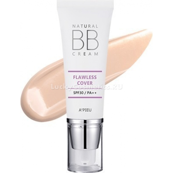 APieu Natural Flawless Cover BB Cream SPF PANatural Flawless Cover BB Cream обладает усиленными маскирующими свойствами. Его плотная, по сравнению с аналогами, текстура надежно скрадывает недостатки кожи, создавая ей безупречное покрытие. Крем не образует эффект маски и смотрится на лице очень естественно.<br>Полезные компоненты в составе крема обеспечивают кожу качественным питанием и совершенствуют ее внешний вид.<br>Ферментированный зерновой комплекс включает аминокислоты, в том числе и незаменимые, липиды, макро- и микроэлементы, витамины и фитостеролы. Они укрепляют клеточные мембраны, стимулируют процессы обновления, повышают местный иммунитет кожи.<br>Вытяжка из плода нони предохраняет кожу от фотостарения, устраняет избыток себума, заживляет незначительные повреждения, уничтожает патогенных микроорганизмов.<br>Экстракт мака смягчает и увлажняет эпидермис, бережно заботится о чувствительной коже, предотвращает ее преждевременное увядание.<br>Flawless Cover BB Cream выпускается в двух оттенках: светлый и натуральный беж. Они прекрасно адаптируются под особенности кожи лица и не образуют цветового контраста с шеей.Объём: 40 млСпособ применения:Распределить ББ-крем по коже лица тонким слоем. При необходимости предварительно нанести праймер.<br>