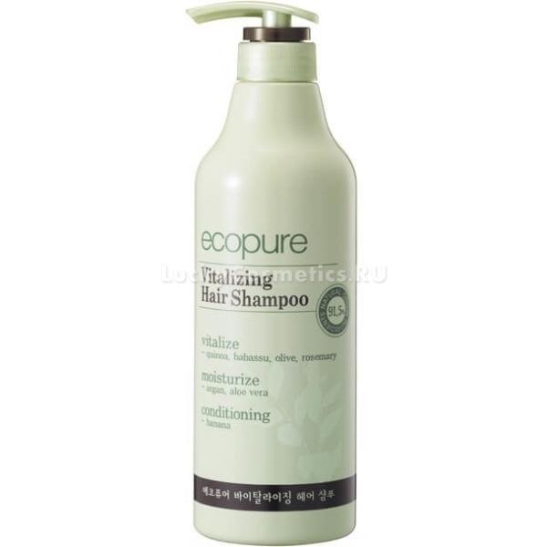 Ecopure Vitalizing Hair ShampooЧтобы волосы оставались мягкими, шелковистыми и красивыми, они нуждаются в постоянном бережном уходе. Корейский производитель Ecopure прекрасно понимает это и представляет инновационный шампунь, который обогащен витаминами. Уже после первого применения вы заметите невероятную мягкость. Шампунь вернет волосам естественный здоровый блеск, природную красоту и силу.<br>Состав Vitalizing Shampoo — это стопроцентно натуральные компоненты природного происхождения. Экстракты алоэ, розмарина и банана, оливковое и аргановое масло воздействуют на саму структуру волос, восстанавливают ее и эффективно борются с имеющимися повреждениями. Теперь есть одно решение для целого спектра проблем.<br>Помимо уходового действия, шампунь также оказывает и защитный  эффект. Средство бережно окутывает волосы, образуя надежное защитное покрытия от неблагоприятного воздействия вредных и опасных факторов, например, высоких и низких температур, сильного ветра, ультрафиолетового излучения и так далее.Объём: 700 мл.Способ применения:Нанесите небольшое количество средства на влажные волосы. Вспеньте мягкими массажными движениями. Тщательно промойте волосы, чтобы не средство не осталось на волосах.<br>