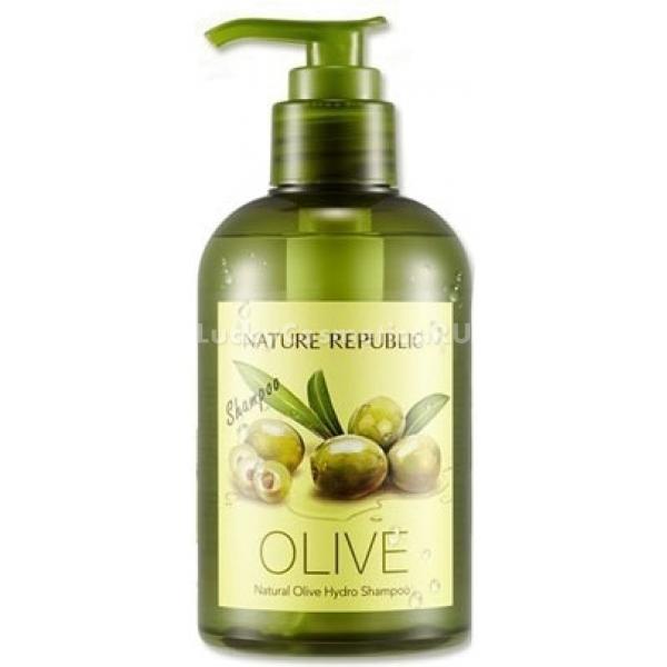 Nature Republic Natural Olive Hydro ShampooШампунь для волос от Nature Republic на основе богатого полезными веществами оливкового масла дарит волосам шелковую гладкость, зеркальный блеск, густоту, силу и увлажненность.<br>Natural Olive Hydro Shampoo в составе также содержит множество растительных экстрактов: женьшень, клен, мандарин, дикая хризантема, ягоды годжи, мята и многие другие.<br>Оливковое масло делает волосы сильными, эластичными, блестящими, густыми и гладкими. Оно способно восстановить волосяную структуру, укрепить корни волос и активизировать их рост, защитить от вредного воздействия окружающей среды, наполнить кожу головы влагой и полезными веществами, нормализовать баланс жирности.<br>Шампунь мгновенно вспенивается, его использование экономично и эффективно. Средство интенсивно борется с загрязнениями и жирностью, оставляя волосы безупречно чистыми, ухоженными и приятно пахнущими.Объём: 310 мл.Способ применения:Наносить на влажные волосы, массажными движениями вспенить, после чего смыть при помощи теплой воды.<br>