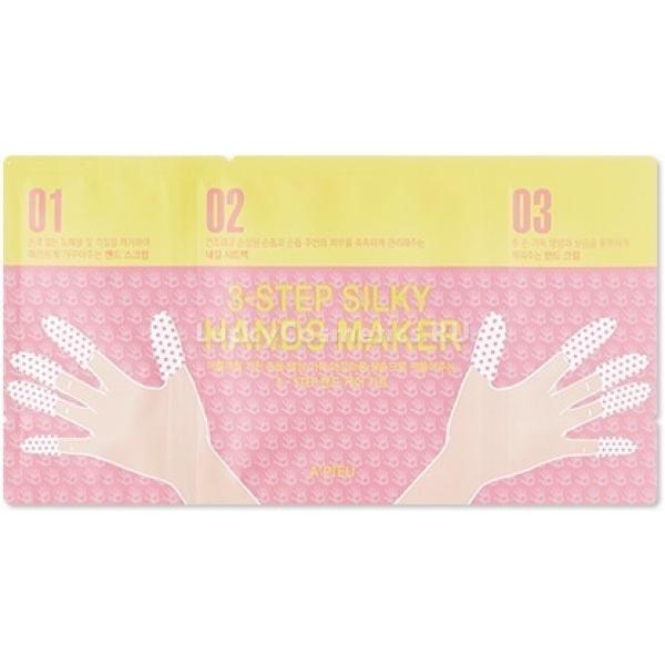 APieu Step Silky Hands MakerПозаботиться и восстановить нежную кожу рук поможет новейшая маска от корейского бренда APieu. Средство 3-Step Silky Hands Maker состоит из трехэтапного ухода и прекрасно восстанавливает и питает кожу. Средство основано на компонентах органического происхождения, которые моментально проникают в кожу и восстанавливают ее изнутри. На первом этапе маска снимает ороговевшие частицы кожи и дарит коже бархатистость. На втором этапе следуют маски для деликатного увлажнения кожи и ногтей. Третий и завершающий этап включает в себя суперпитательный и увлажняющий крем. При регулярном использовании такого средства Ваша кожа будет сияющей и невероятно гладкой.<br>Медовый экстракт интенсивно питает и увлажняет кожу, способствует улучшению процесса обмена веществ микроциркуляции крови. Предотвращает образование сухости, шелушений и стянутости кожи. Стимулирует обновление клеток, способствует заживлению ранок и трещин.<br>Масло ши обладает противомикробным и антисептическим действием, бережно отбеливает кожу, способствует устранению высыпаний и образованию заусенцев. Мягко успокаивает кожу и защищает от пагубного воздействия факторов окружающей среды и химических компонентов средств.Объём: 1 шт.Способ применения:На очищенную кожу нанесите скраб и легко помассируйте, после чего смойте водой. На сухую кожу наложите маски и оставьте на 15 – 20 минут, после удаления масок увлажните руки кремом из третьего этапа.<br>
