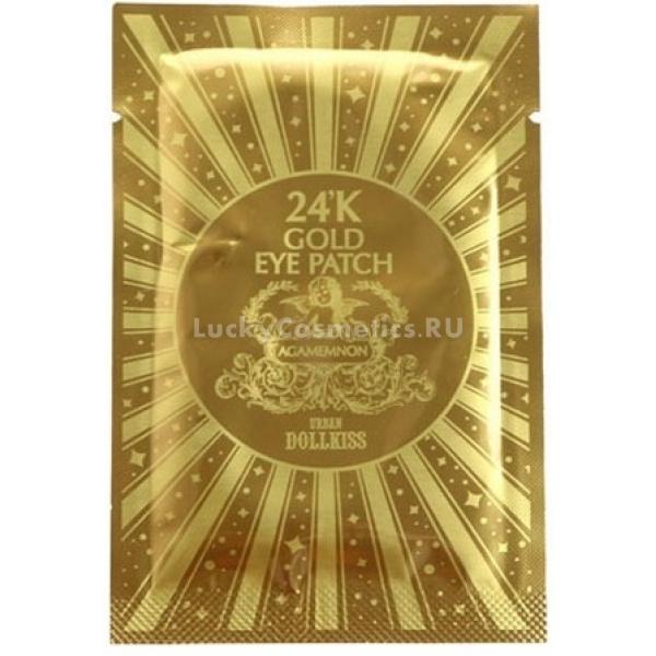 Baviphat K Gold Urban Dollkiss Agamemnon Hydrogel Eye PatchРоскошный уход за кожей вокруг глаз предлагает корейский бренд Baviphat. Попробуйте гидрогелевые патчи с 24-каратным золотом для эффективной борьбы со всеми несовершенствами.<br>Гелевый формат особенно комфортен в применении – нежные патчи не растягивают тонкую кожу в области глаз. Средство дает приятный эффект прохлады, который заметно тонизирует кожу. Это особенно востребовано по утрам, когда нужно взбодриться в кротчайшие сроки.<br>Золотая составляющая патчей усиливает микроцеркуляцию, за счет чего спадают отеки и уменьшаются темные круги, кожа насыщается кислородом. Клетки активнее обновляются, то есть, идет естественный процесс омоложения тканей. К тому же, золото помогает другим полезным компонентам состава лучше проникать в кожу.<br>Аденозин оказывает выраженное разглаживающее и подтягивающее действие. Лифтинг-эффект мгновенно преображает кожу, делая ее более упругой и эластичной. Гиалуроновая кислота дарит длительное увлажнение, активизирует естественную выработку коллагена, что предупреждает увядание кожи.Объём: 2,8 гр.Способ применения:На сухую, чистую кожу наложите патчи. Время действия 20-30 минут. Снимите патчи и легкими вбивающими движениями помогите остаткам состава впитаться.<br>