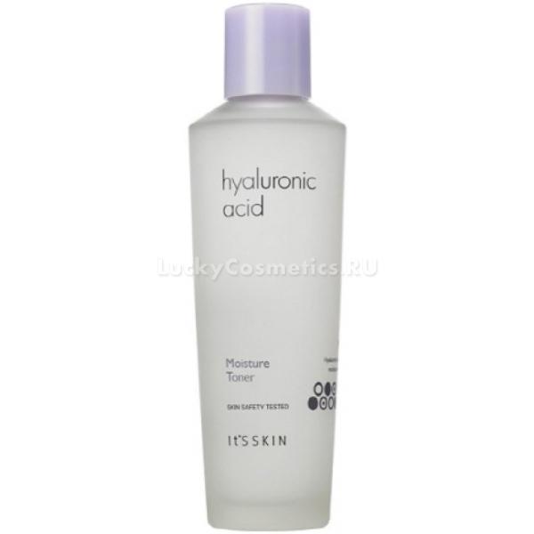 Its Skin Hyaluronic Acid Moisture TonerУвлажняющее действие тонера Hyaluronic Acid Moisture Toner направлено на интенсивное восстановление травмированных клеток, питание и насыщение влагой. Средство работает в нескольких направлениях:<br>- разглаживает мелкие мимические морщины;<br>- замедляет синтез меланина;<br>- увлажняет и смягчает сухую кожу.<br>Благодаря легкой текстуре продукт обеспечивает максимально комфортные ощущения после процедуры умывания, восстанавливая физиологический уровень pH. Не оставляет следов жирности или липкости, предотвращает появление чувства стянутости. Средство обеспечивает глубокое очищение пор от черных точек, высыпаний и акне. Деликатно отбеливает и выравнивает тон кожи. Дарит коже эластичность и сияние.<br>Экстракт барбадосской вишни (ацеролла) – оказывает мощное регенерирующее, тонизирующее и успокаивающее действие. Предотвращает размножение бактерий в порах, устраняет сухость и шелушение.<br>Экстракт гибискуса усиливает микроциркуляцию крови, устраняет сосудистую сеточку и укрепляет тонкую кожу.Объём: 150 мл.Способ применения:Смочите спонж необходимым количеством средства и протрите кожу лица.<br>