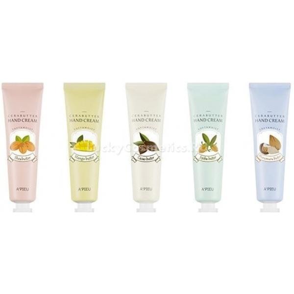 APieu Cerabutter Hand CreamКожа рук наиболее часто подвергается негативному воздействию ультрафиолета, стрессов и факторов окружающей среды. Позаботиться о ее красоте и молодости поможет инновационный крем от корейского бренда A&amp;#39;Pieu. Средство сочетает в себе не только базовый уход, но и помогает восстановить сухую, шелушащуюся и поврежденную кожу. Плотная текстура средства тает при соприкосновении с кожей, глубоко питает и насыщает клетки витаминами и микроэлементами. При этом средство не оставляет неприятной липкости или жирности на коже. А приятный легкий аромат будет сопровождать Вас в течение дня.<br><br>Выберите свой идеальный Cerabutter Hand Cream и подарите коже невероятную заботу<br><br>- Jojoba Butter &amp;ndash; масло жожоба великолепно справляет с сухостью, стянутостью и шелушениями. Предотвращает растрескивание кожи, успокаивает и снимает раздражение. Кожа становится идеально мягкой и увлажненной.<br><br>- Murumuru Butter &amp;ndash; масло мурумуру, бразильского происхождения, обладает целебными свойствами. Предотвращает обезвоживание слоев кожи, усиливает клеточную регенерацию, укрепляет тонкие стенки сосудов и дарит коже эластичность.<br><br>&amp;nbsp;<br><br>Объём: 35 мл.<br><br>&amp;nbsp;<br><br>Способ применения:<br><br>На сухую чистую кожу рук нанесите необходимое количество средства и распределите круговыми движениями до впитывания<br>