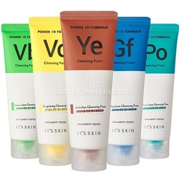 Its Skin Power  Formula Cleansing FoamЛинейка ухаживающих средств Power 10 Formula Cleansing Foam от It&amp;#39;s Skin не только очистит кожу от загрязнений, но и устранит множество кожных проблем. Легкая пенящая текстура равномерно ложится на кожу и деликатно очищает, при этом не травмируя нежные участки. Не оставляет чувства липкости или стянутости, великолепно питает и увлажняет. Помогает сохранить оптимальный уровень влажности и pH кожного покрова.<br><br>01 Пенка с комплексом GF станет идеальным помощником для сухой и шелушащейся кожи. Комплекс способствует захвату и прочному удержанию влаги в клетках, предотвращая обезвоживание и пересыхание кожи. Восстанавливает гладкость и эластичность.<br><br>02 Пенка с комплексом PO способствует сужению пор, блокирует размножение бактерий и дарит коже упругость и свежесть в течение всего дня. Специальная формула средства предотвращает образование высыпаний, устраняет следы пигментации и стимулирует заживление ранок.<br><br>03 Пенка с комплексом VB. Витамин В6 является незаменимым помощником для жирной и склонной к высыпаниям кожи. Контролирует выработку кожного сала, насыщает клетки ценными микроэлементами и витаминами, глубоко увлажняет и питает. Дарит коже мягкость и легкость после умывания.<br><br>04 Пенка с комплексом VC позволяет осветлить и выровнять тон лица. Способствует деликатному отбеливанию пигментации, устраняет следы воспалений и высыпаний. Восполняет дефицит витамина С.<br><br>05 Пенка с комплексом YE &amp;ndash; энергетическая формула пенки венет уставшей коже свежесть и сияние. Устранит темные круги и отеки в области глаз, вернет сочный цвет лица и визуально подтянет контуры. Предотвращает ранее старение клеток и насыщает кожу кислородом.<br><br>&amp;nbsp;<br><br>Объём: 120 мл.<br><br>&amp;nbsp;<br><br>Способ применения:<br><br>Выдавите необходимое количество средства и очистите кожу от загрязнений.<br>