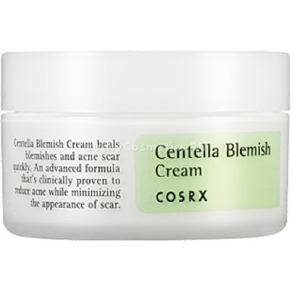 CosRx Centella Blemish CreamСтрессы, недосыпания и высокая городская активность могут повлиять на состояние кожи. Она становится тусклой, склонной к высыпаниям и раздражениям. Устранить все эти причины поможет невероятно легкий крем Centella Blemish Cream от корейского бренда Cos Rx. В составе средства содержится около 50% экстракта центеллы азиатской, которая восполняет дефицит витаминов и микроэлементов, усиливает увлажнение кожи и дарит ей жизненные силы. Легкая текстура средства равномерно распределяется по коже, при этом не оставляя следов жирности или липкости, дарит чувство комфорта в течение всего дня. Благодаря активной регенерирующей формуле крем заполняет и разглаживает морщины, эффективно борется с образованием свободных радикалов и окислительных процессов на поверхности кожи, поддерживает водно &amp;ndash; липидный баланс клеток. При регулярном использовании средства кожа становится подтянутой, увлажненной и свежей.<br><br>Экстракт центеллы благотворно влияет на состояние тусклой, тонкой и возрастной кожи. Интенсивно борется с причиной пигментации и высыпаний. Дарит коже гладкость и мягкость.<br><br>Экстракт трехцветной фиалки защищает кожу от потери влаги, успокаивает и снимает раздражение, смягчает сухие участки и сужает расширенные поры.<br><br>&amp;nbsp;<br><br>Объём: 30 мл.<br><br>&amp;nbsp;<br><br>Способ применения:<br><br>На предварительно очищенную и тонизированную кожу нанесите средство и распределите.<br>