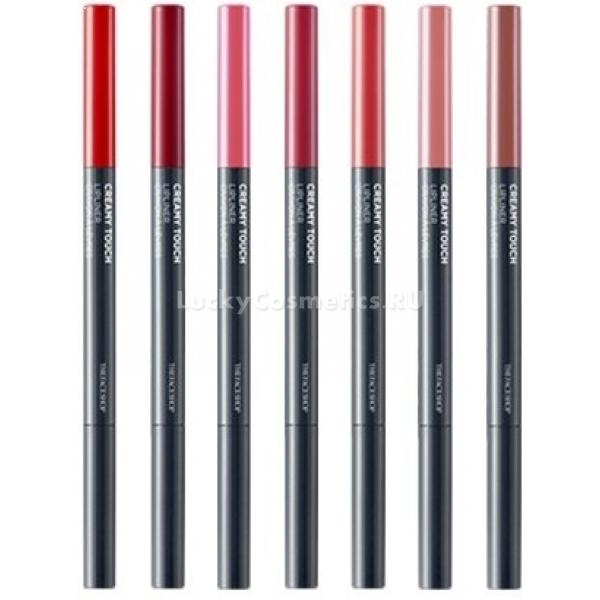 The Face Shop Creamy Touch LiplinerЯркие, чёткие, хорошо прорисованные губы, которые выделяются на лице – это красиво, сексуально и, в конце концов, модно. Чтобы помада не выходила за контур, используйте карандаш Creamy Touch Lipliner от корейского бренда The Face Shop. Стойкая формула и большое количество пигментов сохранят на губах цвет на весь день. Его грифель – мягкий, словно застывший крем, поэтому линии получаются яркими чёткими с первого мазка, а само средство не сушит нежную кожу. Карандаш вполне может заменить собой помаду, попробуйте!<br>С одной стороны футляра The Face Shop Creamy Touch Lipliner расположен грифель, а с другой – мягкая нейлоновая кисть, которой удобно растушёвывать линию. Карандаш не нужно затачивать, достаточно придать кончику острую форму, равномерно надавливая на него.Объём: 7,35 гр.Способ применения:Обведите карандашом контур губ, затем нанесите помаду. Для получения более мягкого эффекта растушуйте линию кисточкой. При необходимости закрасьте губы полностью.<br>