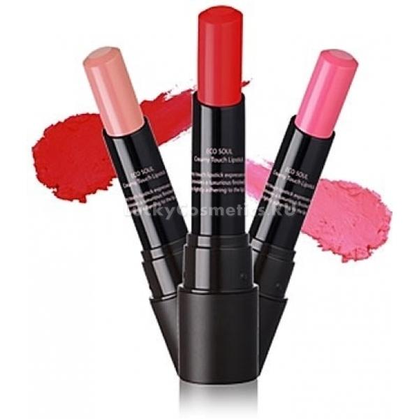The Saem Eco Soul Creamy Touch LipstickПотрясающая помада The Seam Eco Soul Creamy Touch Lipstick станет вашей незаменимой  помощницей в создании яркого и эффектного макияжа губ, который сделает образ полностью завершенным! Мощнейший ухаживающий биокомплекс, которым обогащена помада, будет интенсивно увлажнять, и питать кожу губ, защищая ее от отрицательного влияния различных негативных факторов на протяжении всего дня. Помада обладает высоким уровнем пигментации, что позволяет придать губам насыщенный оттенок с глянцевым финишем буквально в одно касание! А нежнейшая кремовая текстура равномерно распределяется по губам, делая их гладкими и объемными, при этом, не подчеркивая никаких шелушений! Кроме этого, помада обладает повышенной стойкостью, что позволяет носить ее в течение всего дня и выглядить ослепительно! Данная помада представлена в следующих оттенках: Coming Red / классический красный (01); Freedom Red / алый (02); Pink Crush / яркий розовый (03); Successful Pink / средний розовый (04); Spring Pink / светлый розовый (05); Brightening Orange / светло-оранжевый (06); Unforgettable Coral / коралловый (07); Whispering Beige / светлый беж (08).Объём: 3,5 грСпособ применения:Равномерно наносите небольшое количество помады при помощи пальцев или кисточки.<br>
