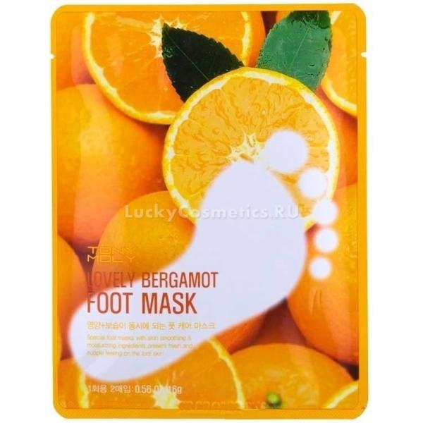Tony Moly Lovely Bergamot Foot MaskКосметологи корейской компании Tony Moly разработали удивительную маску для ног с экстрактами ценных растений, которая способна моментально придать стопам ухоженный вид. В составе средства содержатся экстракты бергамота, яблока, лайма, винограда и апельсина, которые превосходно снимают шелушения, устраняют сухость, успокаивают и тонизируют кожу ног. После использования прекрасного продукта стопы становятся легкими и свежими, пяточки обретают потрясающую гладкость и мягкость.<br><br>Косметический продукт заживляет небольшие трещинки, легко справляется с загрубевшей и обезвоженной кожей, питая и увлажняя ее. Маска снизит отечность тканей, размягчит натоптыши, уберет огрубелости, улучшит цвет кожи, нормализует водно-липидный баланс в тканях.<br><br>Производитель позаботился о том, чтобы использовать маску было легко и приятно. Поэтому она имеет вид плотных полиэтиленовых носочков, пропитанных чудодейственным кремом. От средства исходит прохладный, освежающий и тонизирующий цитрусовый аромат.Объём: 2 штСпособ применения:Носочки, пропитанные кремом, надеть на 25 минут. Остатки средства втереть в стопы.<br>