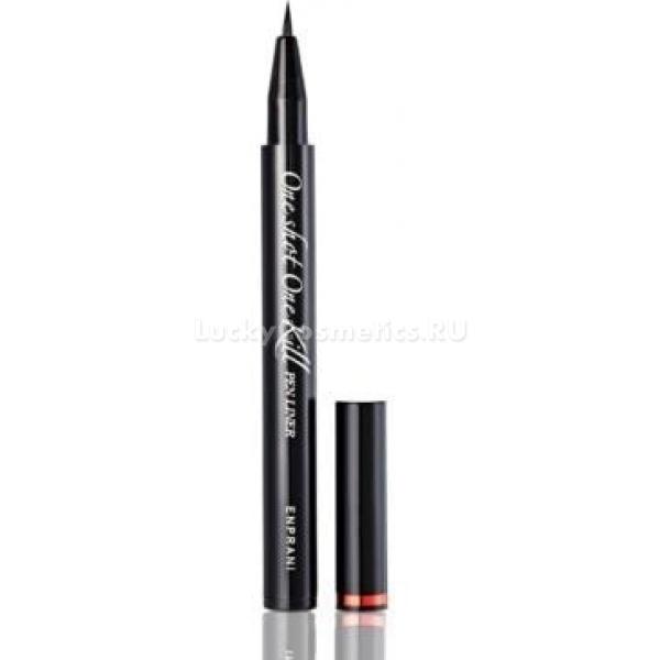 Enprani One Shot One Kill Pen LinerС помощью подводки-фломастера от компании Enprani создать идеальный макияж глаз очень просто. Косметический продукт имеет тонкий аппликатор, который позволяет провести аккуратную, четкую ультрачерную линию вдоль роста ресниц.<br><br>Натуральные компоненты в составе средства мягко ухаживают за кожей, не раздражая ее. Подводку «Точно в цель» можно использовать даже для чувствительных глаз. Макияж, созданный с помощью фломастера от азиатского бренда, держится целый день, не растекается, не смазывается. Этот эффект достигается за счет водостойкой формулы, основанной на полимерах. Подводка отлично пигментирована, обладает стойкостью к воде, кожному салу и поту.<br><br>Нанесение средства не вызывает трудностей, поскольку краска ложится на веко гладко и равномерно за счет ее капиллярной подачи. Интенсивность стрелочки можно регулировать нажимом на фломастер. Прокрашивать межресничное пространство очень просто. Футляр подводки черного цвета, выполнен в лаконичном классическом стиле.Объём: 10 грСпособ применения:Перед нанесением подводки провести ею по руке. Это улучшит интенсивность цвета. Затем, едва надавливая, нарисовать линию вдоль роста ресниц.<br>