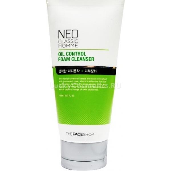 The Face Shop Neo Classic Homme Oil Control Foam CleanseМужская пенка для лица от корейской компании The Face Shop создана для очищения склонной к жирности кожи. Это средство превосходно решает проблему нарушенной работы сальных желез.<br><br>Косметический продукт содержит в своем составе древесный уголь. Этот компонент помогает клеткам регенерироваться, нормализует выработку себума. Он глубоко очищает дерму, значительно сужает расширенные поры, восстанавливает водно-щелочной баланс, устраняет акне и препятствует их возникновению.<br><br>Использование этого продукта способно очень быстро привести жирную кожу в порядок. Лицо в результате регулярного умывания пенкой приобретает здоровый матовый цвет, дерма – однородную текстуру.<br><br>Средство обладает гелевой консистенцией, которая замечательно очищает кожу. С помощью пенки умывать лицо рекомендуется дважды в день. Удобный дозатор выдает умеренное количество средства, что позволяет использовать его очень экономично. После умывания пенкой на коже остается приятный аромат.Объём: 170 млСпособ применения:Выдавить гель, вспенить. Нанести на кожу и смыть.<br>