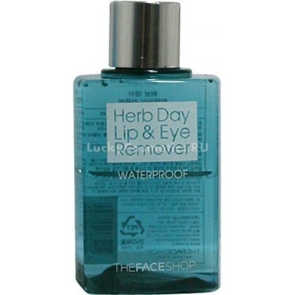 The Face Shop Herb Day Lip and Eye Make Up Remover WaterproofЭта жидкость необходима каждой любительнице макияжа, ведь ее наличие позволит легко и быстро удалить даже самый устойчивый макияж! Она имеет легкую и водянистую консистенцию, которая не оставляет никакой неприятной пленочки и жирности после своего применения. Помимо очищающих свойств, продукт обладает также выраженным ухаживающим действием, что обеспечивается благодаря растительным вытяжкам в его составе. Ключевыми компонентами состава представленной жидкости являются вытяжки лесных трав, которые великолепно витаминизируют, увлажняют кожу, а также оказывают бактерицидный, поросужающий и успокаивающий эффект. Средство является универсальным и подходящим для всех типов кожи. Его использование позволит удалить самые стойкие виды туши, подводки, тональных основ, а также средств для губ. Качественное, но деликатное очищение &amp;ndash; это реальность, благодаря этому средству от The Face Shop!<br><br>&amp;nbsp;<br><br>Объём: 130 мл<br><br>&amp;nbsp;<br><br>Способ применения:<br><br>Ватные диски, пропитанные этим средством, приложите к глазам и оставьте для воздействия до 1 минуты, после чего аккуратно удалите остатки макияжа, а также протрите лицо и губы.<br>