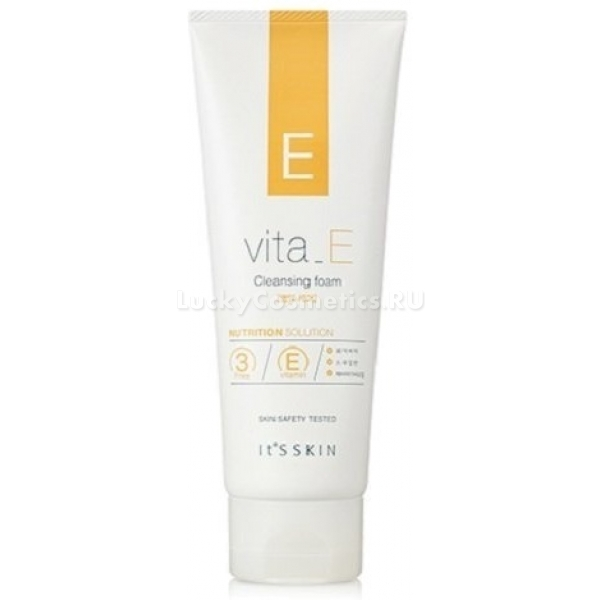 Its Skin Vita E Cleansing FoamСредство богато витамином Е, а также ценными маслами, которые благотворно влияют на состояние кожи, смягчают, дают полноценное питание, продлевая ее молодость.<br>E Cleansing обильно вспенивается, что способствует эффективному удалению всевозможных загрязнений с кожи при малейших усилиях. Пенка деликатно очищает, удаляет макияж и другие загрязнения, интенсивно питает кожу лица, выводит токсины и ненужные продукты клеточного обмена веществ, при этом не раздражая и не разрушая защитный слой кожи.<br>Благодаря наличию в составе витамина Е Vita Foam интенсивно смягчает кожу, делает ее нежной и бархатистой, предотвращает раннее увядание, сухость и раздражения, имеет противовоспалительный эффект, а также обладает способностью к заживлению поврежденных участков кожного покрова.<br>Сквален прекрасно впитывается кожей, увлажняя и смягчая ее.<br>Масло ши помимо своих увлажняющих и смягчающих свойств обладает способностью ускорять регенерацию клеток кожи, разглаживать морщинки, что способствует долгому сохранению молодости лица.<br>Средство имеет полностью натуральный состав.Объём: 150 мл.Способ применения:Небольшое количество продукта взбить в руках с водой до получения пены, наносить на влажное лицо, тщательно массируя при этом, затем смыть при помощи теплой воды.<br>