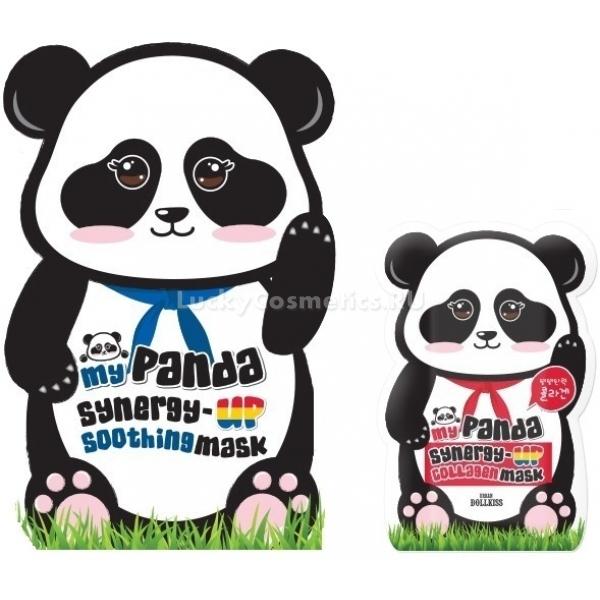 Baviphat My Panda Synergy Up ollagen Mask PackЭта поистине экспресс-маска помогает в кратчайшее время усовершенствовать состояние кожи лица и омолодить ее внешний вид. При постоянном использовании она дает восхитительный результат благодаря синергетическому эффекту, которое представляет собой совместное действие ингредиентов, входящих в состав маски и усиливающих воздействие друг друга, на кожу.<br><br>Компоненты, из которых состоит средство, даже по-отдельности оказывают восстанавливающее и омолаживающее влияние на кожный покров.<br>Например, гиалуроновая кислота, поддерживающая увлажненное состояние кожи путем образования на ее поверхности тонкой пленки. Пленка поглощает молекулы воды из окружающей среды и способствует ее проникновению в клетки кожи, препятствуя потере влаги.<br>Гиалуроновая кислота, помимо этого, имеет восстановительные, обеззараживающие и заживляющие свойства.<br>Витамин Е борется со свободными радикалами, оказывающими вредное воздействие на кожу, а также защищает кожу от ультрафиолетового излучения, помогая ей долгое время сохранять молодой и здоровый вид. Он также борется с воспалениями на коже, уменьшает аллергические реакции, угри, избавляет от токсинов, убирает опухлости под глазами, выравнивает цвет лица.<br>Крем содержит еще множество натуральных компонентов, которые взаимодействуя эффективно борются со всеми признаками старения.<br>Маска имеет два варианта: укрепляющая с коллагеном и успокаивающая с экстрактом гамамелиса.Объём: 30 гр.Способ применения:Наносить на кожу лица после процедуры очищения и тонизирования, держать 20 минут, после чего снять и распределить остатки по лицу.<br>
