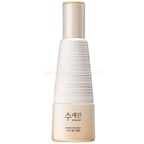 The Saem Sooyeran Radiance EmulsionПродукт высокоэффективен в своих свойствах благодаря высокой концентрации полезных веществ, делающих кожу сияющей, гладкой, подтянутой и молодой. Radiance Emulsion придаст лицу отдохнувший и ухоженный вид, она уберет нежелательные пигментные пятна и сделает тон лица ровным, а кожу увлажненной. К тому же, после его применения, кожа обретет надежную защиту от вредного воздействия окружающей среды, а контуры лица заметно подтянутся.<br>Вытяжки из некоторых ценных растительных компонентов поспособствуют усилению эффекта применения эмульсии. Они улучшат кровоток в клетках кожи и придадут свежий здоровый вид лицу.<br>Благодаря аденозину кожа получит надежную защиту от окисления свободными радикалами, а также от раннего старения. Аденозин поможет клеткам вырабатывать коллаген, который необходим для упругости и эластичности кожи лица.<br>В составе содержится ниацинамид, который не только уберет пигментацию, но и защитит кожу от негативного воздействия окислителей извне.<br>Масло макадамии богато жирными кислотами, которые дают коже интенсивное питание, мягкость, увлажнение и гладкую структуру.<br>Sooyeran Emulsion имеет нежную и невесомую консистенцию, она легко наносится и обладает приятным ароматом.Объём: 150 мл.Способ применения:Использовать после очищения и тонизирования лица, распределить по коже кончиками пальцев.<br>
