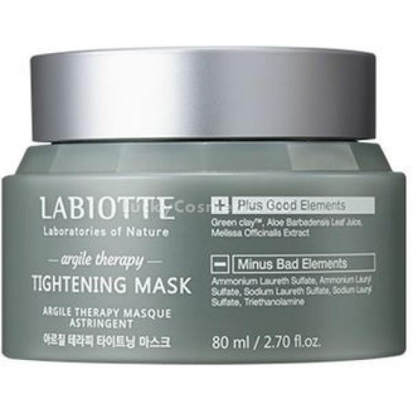 Labiotte Argile Therapy Tightening MaskМаска на основе зеленой глины входит в линию средств Argile Therapy  от косметического бренда Labiotte. Она имеет нежную, кремовую консистенцию, которая приятно ложится на кожу, не оставляя после себя ощущений сухости и стянутости.<br>Tightening Mask интенсивно очищает кожу от излишков кожного сала, загрязнений и мертвых клеточек, борется с проблемой расширенных пор, выводит токсины из эпидермиса, регулирует работу сальных желез, поддерживает оптимальный уровень увлажненности кожи, а также обладает выраженным омолаживающим действием.<br>Продукт создан на основе зеленой глины, которая интенсивно абсорбирует в себя все возможные загрязнения, сальные пробки, шлаки и токсины. Она бережно и эффективно очищает кожу лица, обладает антибактериальными свойствами, сужает расширенные поры, устраняет отеки и смягчает. К тому же, она обладает антивозрастным эффектом, подтягивая контуры лица и возвращая ему упругость и эластичность.<br>Алоэ, входящее в состав маски, увлажняет, препятствует испарению влаги с поверхности кожи, защищает от ультрафиолета, снимает воспаления, заживляет поврежденные участки на коже, успокаивает ее.<br>Мелисса великолепно тонизирует, освежает, придает лицу здоровый, ровный цвет. Она активизирует процесс клеточного обновления, способствуя длительному сохранению молодости.Объём: 80 мл.Способ применения:Наносить на кожу после ее очищения и тонизирования массажными движениями в течение 2-3 минут. После чего смыть при помощи теплой воды.<br>
