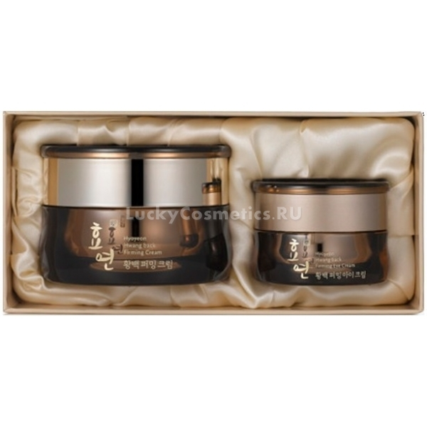 Welcos Hwangback Firming Cream SetНабор укрепляющих кремов от линейки премиум класса Hwang Back корейского бренда Welcos. Позвольте себе роскошный уход, основанный на секретах восточных красавиц. Натуральные ингредиенты кремов позаботятся о молодости и здоровье вашей кожи. Сет состоит из укрепляющего крема для лица (50 мл) и крема для области вокруг глаз (15 мл).<br><br>Эффект от применения кремов комплексный. Кожа получает мощное увлажнение, смягчение, становится более гладкой. Если вы столкнулись с проблемой пигментации, особые ингредиенты помогут вам решить эту проблему. Нежный крем вокруг глаз бережно ухаживает за нежными участками, разглаживает и укрепляет кожу. Набор также активизирует микроцеркуляцию, тем самым способствуя естественным процессам регенерации – клеточного обновления тканей.<br>Firming Cream Set обладает прекрасно сбалансированной структурой. Она насыщена полезными маслами и экстрактами, но при этом отлично впитывается, не оставляет жирности и липкой пленки.<br>Для самых притязательных покупателей набор упакован в красивую подарочную коробочку. Крема уютно расположились на изысканной атласной ткани. В таком оформлении сет радует глаз и подойдет в качестве подарка для близкого и любимого человека.Объём: 50 мл./15 мл.Способ применения:На чистую кожу лица нанесите крем, легкими вбивающими движениями нанесите крем для век на область вокруг глаз.<br>