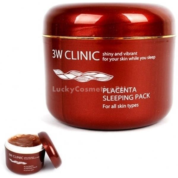 W Clinic Placenta Sleeping PackУльтра питательная маска ночного действия интенсивно восстанавливает кожу, в то время, когда вы отдыхаете. Продукт Placenta Sleeping Pack содержит высокую концентрацию экстракта плаценты, который является мощнейшим анти возрастным компонентом. Маска от 3W Clinic мгновенно проникает в глубокие слои дермы и активирует процессы обновления клеток.<br>Маска – ревиталифт поможет увлажнить сухую кожу, подарит матовость – жирной и усилит питание – тонкой. Многофункциональное средство специально разработано для восстановления и поддержания молодости кожного покрова с первыми признаками увядания. Активные компоненты средства наполняют клетки ценными микроэлементами и витаминами, усиливая микроциркуляцию крови в клетках и открывая доступ к кислороду. Уникальная запатентованная формула связывания молекул влаги помогает захватывать и прочно удерживать воду в клетках, предотвращая образование сухости и шелушений.<br>Экстракт граната в составе продукта помогает поддерживать гидро – липидный баланс кожи, устраняет сухость, шелушение и стянутость кожи. Усиливает клеточный иммунитет, стимулирует синтез коллагена и эластина, дарит коже упругость и сияние.<br>Экстракт маточного молочка укрепляет стенки сосудов, деликатно успокаивает раздражения и предотвращает появление высыпаний, сужает расширенные поры. Обладает антибактериальным и подтягивающим эффектом.Объём: 100 мл.Способ применения:На предварительно очищенную и тонизированную кожу нанесите маску и оставьте на ночь. Утром умойтесь обычным способом. Рекомендовано использовать 1 – 2 раза в неделю.<br>