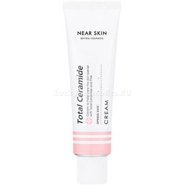 Крем для чувствительной кожи Missha Near Skin Total Ceramide CreamКрем серии Near Skin не содержит дополнительных красителей и парфюмерных отдушек, тем самым подходя самому нежному типу кожи — чувствительному. Отсутствие в составе искусственных компонентов гарантирует отсутствие аллергических реакции.<br>Увлажняющий крем для чувствительной кожи Total Ceramide восстанавливает водный баланс, возвращая упругость и эластичность. Состав состоит из комплекса церамидов, отвечающих за увлажнение и укрепление верхних слоев эпидермиса.<br>Комплекс церамидов при применении крема размягчает огрубевшие частички кожного покрова, тем самым предотвращая излишнюю сухость и снижая чувствительность. Увлажненное лицо меньше обветривается, кожа прекращает шелушиться и её текстура выравнивается.<br>Потерю накопленной влаги предотвращает гипоаллергенная кислота PHA, входящая в состав крема от Missha.  Кроме того, этот компонент оказывает активное воздействие на удаление ороговевших клеток, останавливая шелушение чувствительной кожи.<br>Крем восстанавливает водный баланс кожи, создает естественную защиту, не позволяющую терять влагу.Объём: 50 мл.Способ применения:Тщательно очистить лицо, после чего нанести крем и равномерно распределить по всей кожи мягкими похлопывающими движениями.<br>