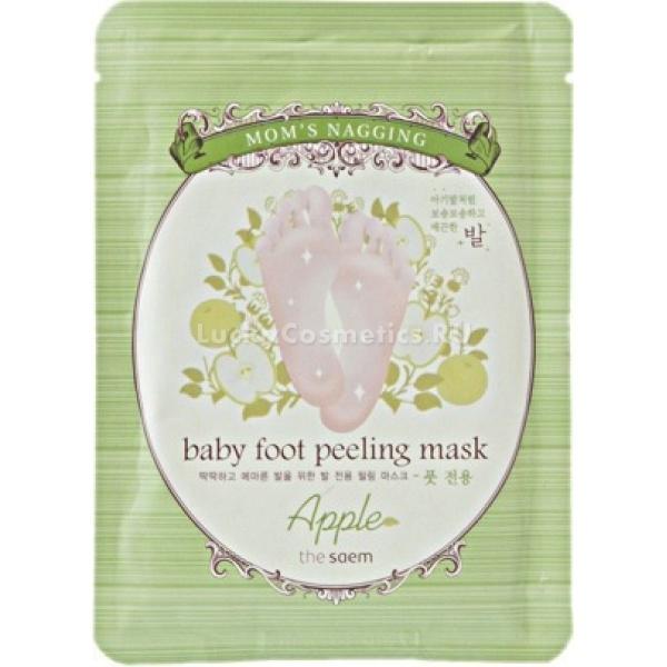The Saem Moms Nagging Baby Foot Peeling Mask AppleПилинг для ног от известного корейского бренда The Saem поможет сделать ваши стопы и ноги нежными, как у младенца! В составе пилинга Mom`s Nagging Baby Foot Peeling –фруктовые кислоты натурального происхождения, которые мягко и бережно убирают омертвевшие клетки, не повреждая кожу, а смягчая ее. Зеленый чай, лаванда, аргановое масло – все эти компоненты ухаживают за кожей ног и дарят ощущение нежности и ухоженности.<br>Основные действующие компоненты пилинга<br>Экстракт зеленого чая. Этот уникальный экстракт способствует выведению токсинов, является мощным антиоксидантом и убирает сухость кожи. Отдельного внимания заслуживают полифенолы – вещества, которые гораздо эффективнее борются со свободными радикалами, чем всем известный витамин молодости – витамин Е. Полифенолы способствуют тому, что в кожу гораздо лучше проникают  питательные вещества и микроэлементы. Кофеин, которого в зеленом чае содержится намного больше, чем в кофе, улучшает питание кожи за счет усиления микроциркуляции крови в тканях. Зеленый чай снабжает кожу кислородом и усиливает кровообращение. Дубильные вещества в составе чайного экстракта выполняют функцию защитной пленки, что предохраняет кожный покров от воздействия окружающей среды, которое ускоряет процессы старения.<br>Экстракт лаванды. Обладает непревзойденными регенерирующими, восстанавливающими  свойствами. Кроме того, лаванда имеет просто великолепный аромат. Экстракт этого растения улучшает тонус кожи.<br>Аргановое масло. Согласно последним исследованиям, оно содержит рекордно большое количество витамина Е и F, а ведь это все - ненасыщенные жирные кислоты. Увлажняет кожу, устраняет шелушение и ощущение сухости. Обладает ярко выраженными регенерирующими и смягчающими свойствами. Поэтому оно незаменимо для ухода за кожей ножек.<br>Фруктовые кислоты. Будучи природным пилингом,  способствуют лучшему отшелушиванию ороговевших клеток кожи, помогают сохранять в клетках влагу, что делает кожу ба