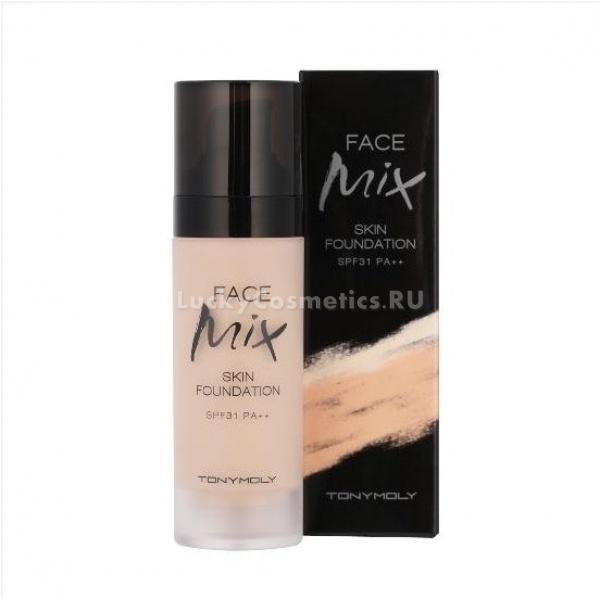 Tony Moly  Face mix foundationСуперустойчивая тональная основа для лица FACE MIX FOUNDATION 23 от популярного бренда Tony Moly разработана специально для создания стойкого, яркого макияжа, который станет одним из главных Ваших достоинств. Тональная основа, с дополнительной защитой от солнца (SPF31) имеет нежную текстуру, благодаря чему легко наносится и равномерно покрывает кожу лица, эффективно скрывая ее недостатки и небольшие дефекты. После использования средства &amp;ndash; кожа выглядит идеально, она приобретает былую гладкость и бархатистость, тон кожи выравнивается, становиться более естественным и здоровым.<br><br>Основа FACE MIX FOUNDATION 23:<br><br><br>легко и равномерно наносится<br>идеально маскирует недостатки кожи и мелкие дефекты<br>держится в течении всего дня, не тускнея и не меняя тона<br>после использования средства макияж выглядит более естественно<br><br><br>Тональная основа FACE MIX 23 имеет натуральный бежевый оттенок, максимально приближенный к естественному. Благодаря этому оно не выглядит на лице, как маска.<br><br>Средство содержит аква-комплекс 24 часа, который состоит из гиалуроновой кислоты, морского коллагена, кельтской воды, керамидов, антиокислительного порошка и экстракта лотоса, они активно взаимодействуют с кожей лица и глубоко увлажняют и питают ее.<br><br>Тональная основа от Tony Moly имеет мягкую, легкую текстуру, которая распределяется равномерно, не забивает поры и позволяет коже дышать. Состоит из натуральных компенентов, не содержит бензофенон, тальк, смолы, сульфаты, поэтому не раздражает кожу и не вызывает аллергию.<br><br>Средство очень устойчиво, оно может продержаться в течении всего рабочего дня. Ваше лицо идеально гладкое и увлажненное весь день!<br><br>Помимо своих декоративных функций, основа оберегает нежную кожу лица от воздействия солнечных лучей.<br><br>&amp;nbsp;<br><br>Объём: 30 гр<br><br>Способ применения:<br><br>Нанесите нужное количество средство на лицо и легко распределите спонжем или подушечками пальце