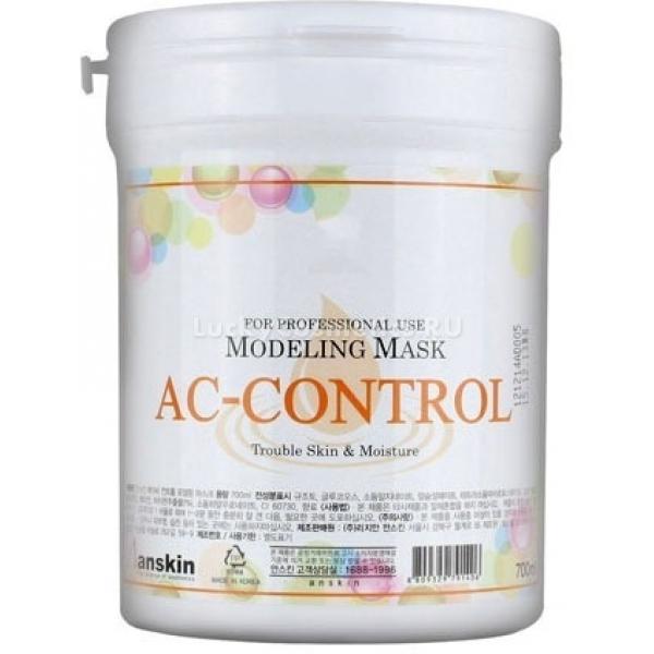 Альгинатная маска против акне Anskin AC Control Modeling Mask  / containerМаска для кожи, склонной к акне, содержит растительные экстракты, гиалуроновую кислоту и соли альгиновой кислоты как главный действующий агент, облегчающий проникновение других полезных ингредиентов. Альгинат при контакте с водой образует густую и вязкую субстанцию, которая мягко облегает кожу, обеспечивая плотный контакт молекул полезных веществ и клеток кожи.<br><br>Аллантоин в составе AC Control Modeling Mask от Anskin усиливает рост и деление фибробластов, обновляет кожу. Экстракт портулака защищает коллагеновые волокна от разрушений и является естественным миорелаксантом. Экстракт солодки восстанавливает барьерные свойства кожи и укрепляет локальный иммунитет.<br><br>&amp;nbsp;<br><br>Объём контейнера:&amp;nbsp;700 мл<br><br>Масса сухого вещества:&amp;nbsp;240 грамм<br><br>&amp;nbsp;<br><br>Способ применения:<br><br>Высыпьте порошок в миску и налейте воды (пропорция один к трем), размешивайте до однородного состояния. Теперь специальной лопаткой по массажным линиям аккуратно наносите средство снизу вверх. Когда маска застывает и образует пленку, она немного уменьшается в объеме, поэтому если вы небрежно нанесете ее, маска может деформировать кожу.<br><br>Делать маску&amp;nbsp;можно каждые&amp;nbsp;3-4 дня.&amp;nbsp;<br>