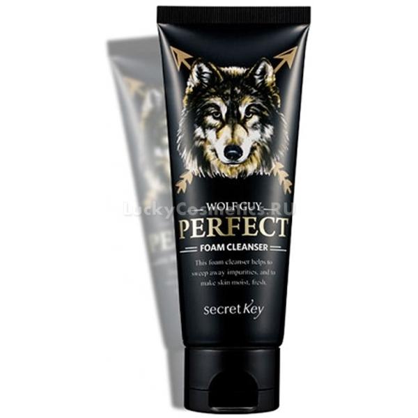 Secret Key Wolf Guy Perfect Foam CleanserПенка для очищения мужской кожи позволяет быстро и эффективно очистить лицо, при этом не пересушивая его, как мыло и средства для умывания на его основе.<br>Мужская кожа не такая чувствительная, как женская, менее склонна к аллергическим проявлениям. Из-за этого мужчины не уделяют должного внимания средствам для очищения лица. Однако излишнее выделение себума может сделать лицо неопрятным и неухоженным на вид, а также вызвать появление акне и черных точек. Чтобы избежать подобных проблем, рекомендуется использовать специальные средства для очищения лица.<br>Пенка содержит комплекс растительных компонентов, обеспечивающих деликатное и глубокое очищение пор от ежедневных загрязнений и излишков себума. Результат – нежная и тонизированная кожа, матовая и упругая на вид.<br>Помимо эффективного очищения и увлажнения, пенка может стать отличной заменой средства для бритья, так как смягчает верхние слои эпидермиса, облегчает ход бритвы и предотвращает раздражения даже на чувствительной и нежной коже.Объём: 80 млСпособ применения:Наберите в ладонь с помощью дозатора нужное количество средства и взбейте его в густую пену с использованием сетки или спонжа, после чего нанесите на лицо и помассируйте несколько минут для глубокого очищения пор. Смойте теплой водой и промокните полотенцем.<br>
